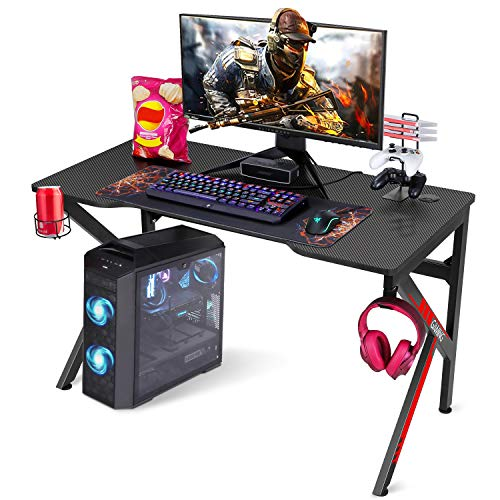 SIMBR Gaming Tische, 121cm Rennstil Gaming Computertisch K-förmiger PC Computer Gaming Tisch...